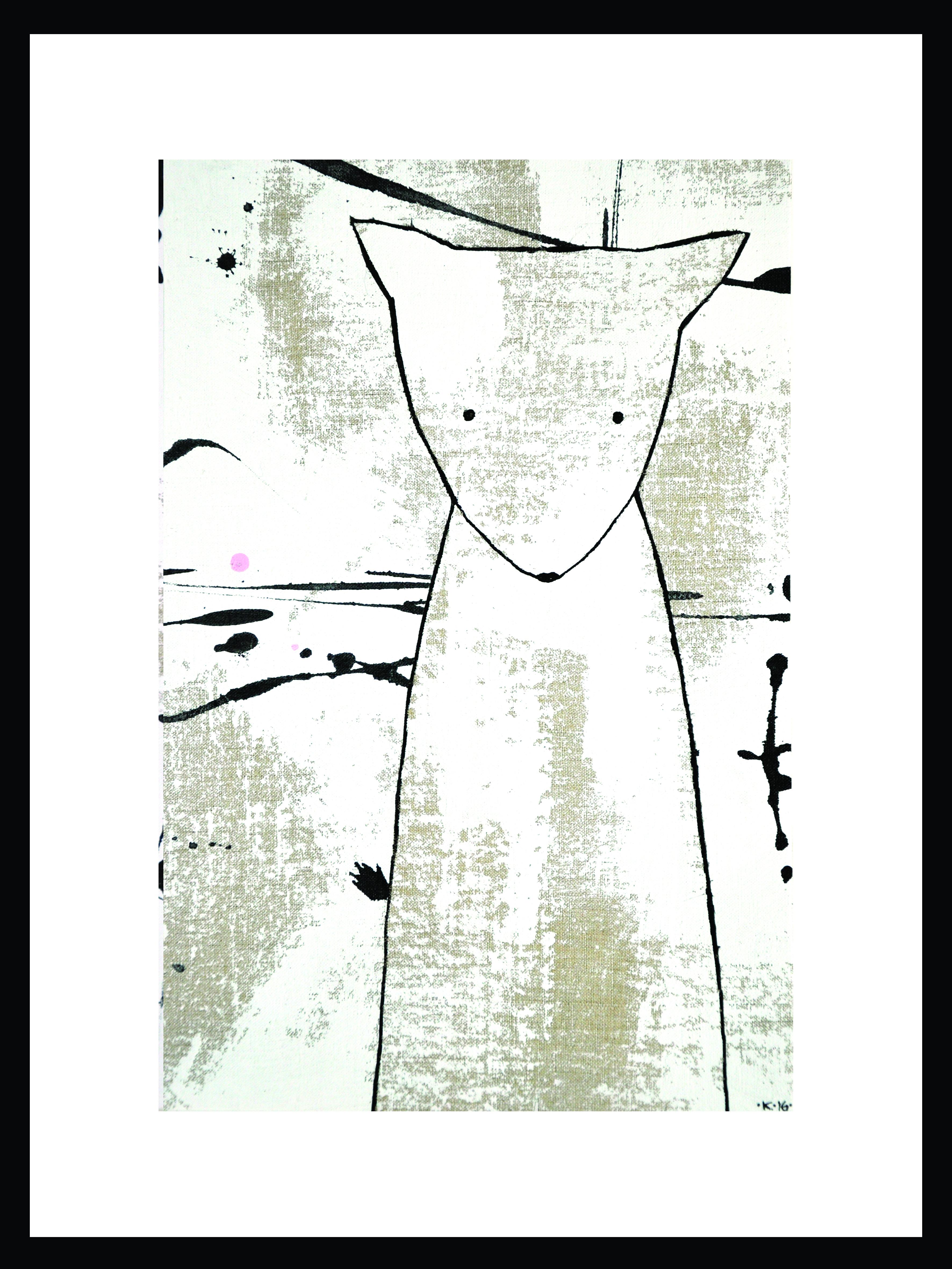 Filur rosa 30x40cm blandteknik, 2016